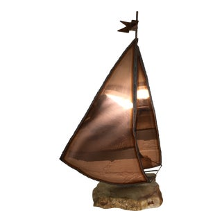 Copper Sailboat Table Sculpture For Sale