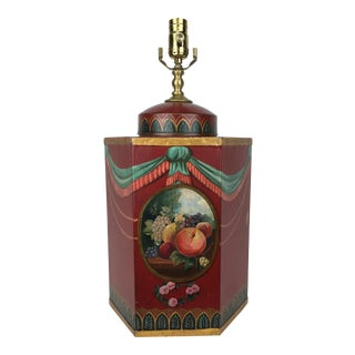 Red English Export Tea Caddy Lamp