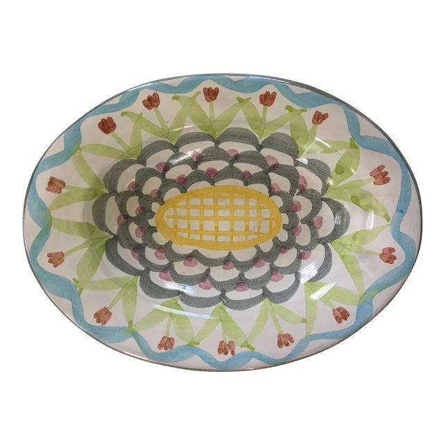 Vintage MacKenzie-Childs Hand Painted Dish / Catchall in King Ferry Pattern For Sale