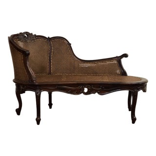Early 20th Century Vintage Paradigm Double Cane French Louis XVI Carved Chaise For Sale