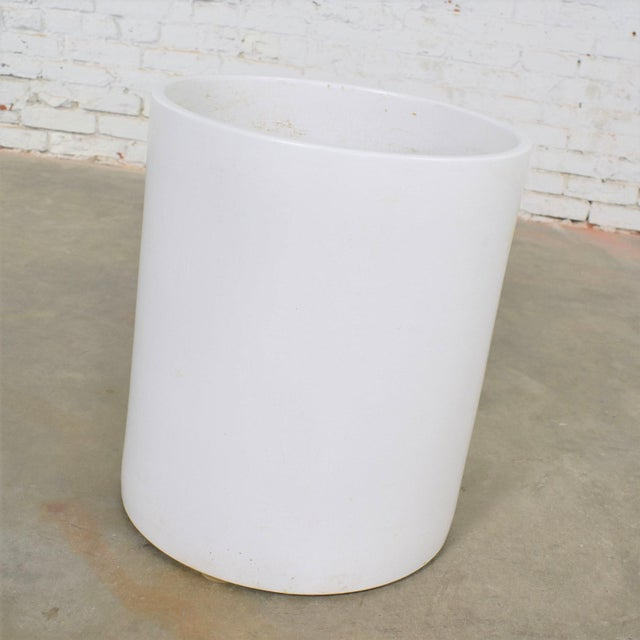 Iconic vintage mid-century modern monumental white cylindrical pot by Architectural Pottery of California. Mark is on the...