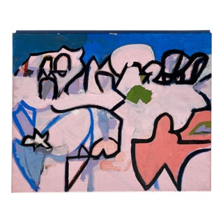 Contemporary Abstract Graffiti Style Painting on Canvas For Sale