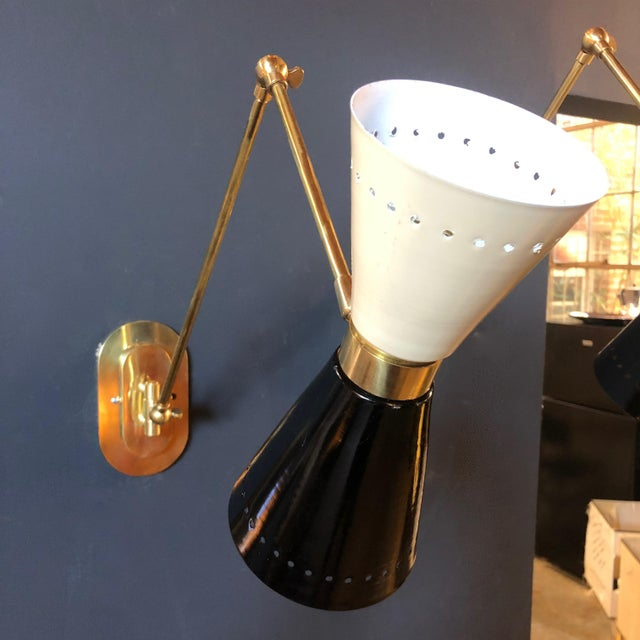 Metal 1960s Italian Lacquer and Brass Sconces - a Pair For Sale - Image 7 of 11
