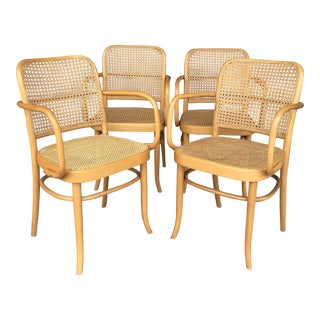 "Vintage Bentwood ""Prague"" Thonet 811 Style Armchairs - Set of 4"