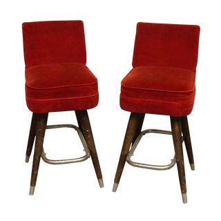 Mid-Century Modern Red Velvet Bar Stools - a Pair For Sale