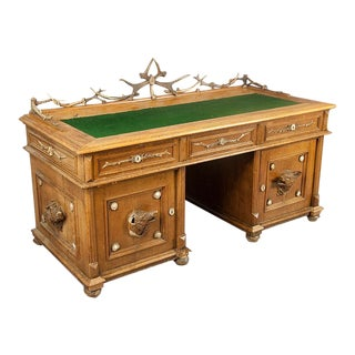 Oak Wood Desk With Antler Decorations by Rudolf Brix 1900 For Sale