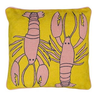Luke Edward Hall for the Rug Company Lobster Mustard Cushion