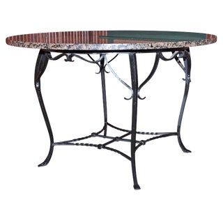 Antique Wrought Iron and Granite Dining Table For Sale