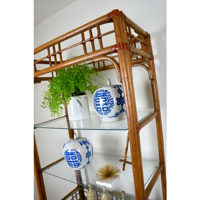 McGuire Style Rattan Etageres - A Pair For Sale - Image 11 of 11