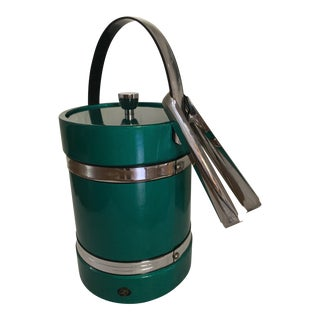 Vintage Green Elmar Ice Bucket with Tongs For Sale