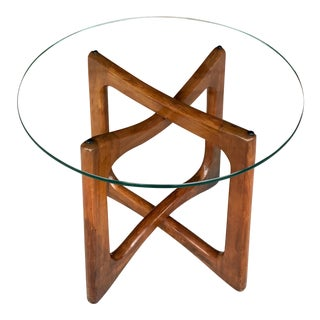 Adrian Pearsall Mid-Century Ribbon Glass Top Side Table For Sale