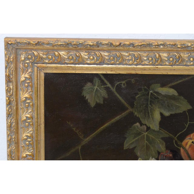 """Canvas 19th Century """"Fruit Table"""" Still Life Oil Painting For Sale - Image 7 of 9"""
