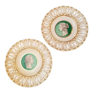 1950s Italian Hollywood Regency Reticulated Portrait Wall Plates - Set of 2 For Sale