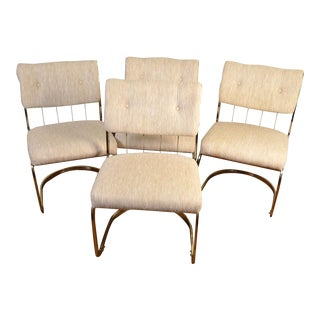 1970s Vintage Cal-Style Cantilever Milo Baughman Style Chairs- Set of 4 For Sale