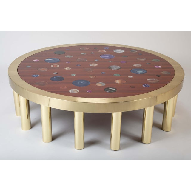 Gold Large Agate Inlaid Sapelle and Brass Coffee Table For Sale - Image 8 of 12