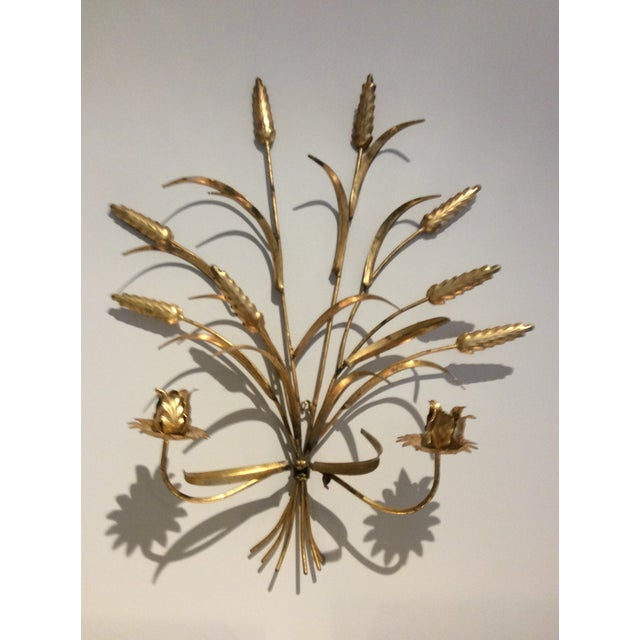 Gold 1970s Italian Wheat Tole Gold Gilt Candle Sconce For Sale - Image 8 of 8