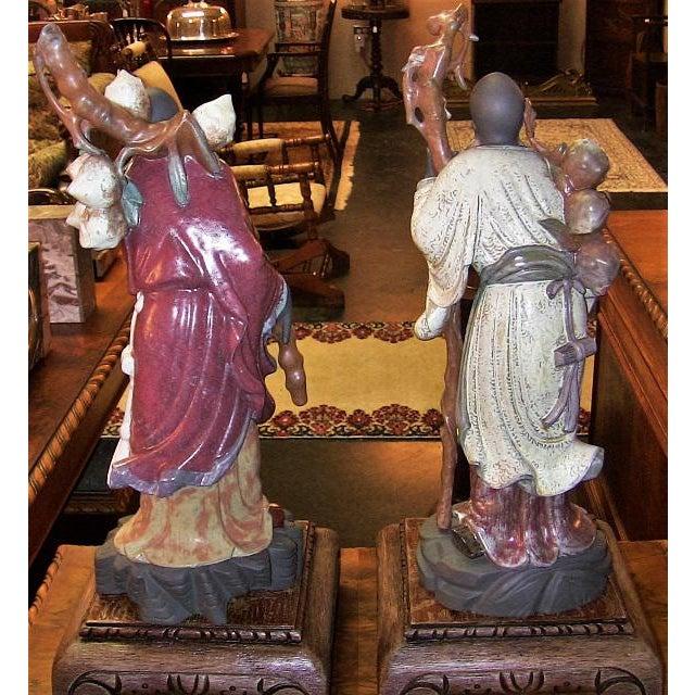 Black Lladro Retired Chinese Farmer Figurines - Very Rare Pair For Sale - Image 8 of 12