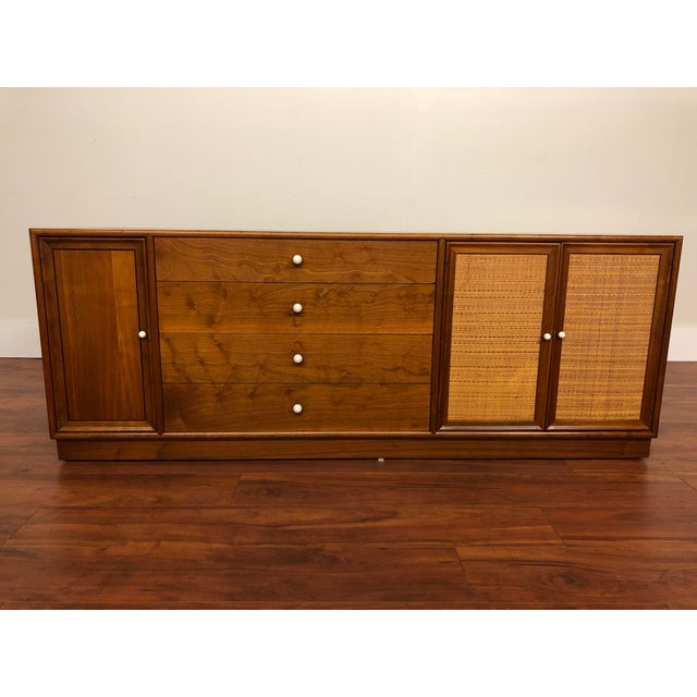 Drexel Declaration Walnut Sideboard With Cane Accents For Sale - Image 12 of 12