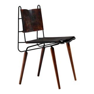 Allan Gould leather, iron and wood chair, USA, 1950s For Sale