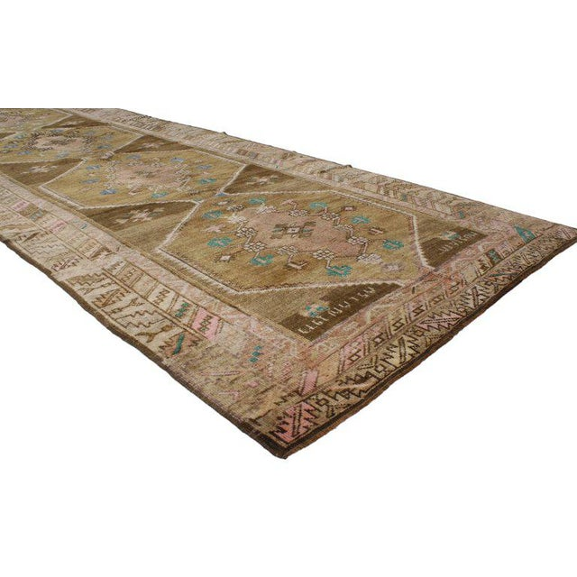 """Abstract 20th Century Turkish Kars Tribal Gallery Rug - 4'4"""" X 11'7"""" For Sale - Image 3 of 5"""
