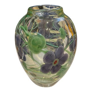 Vintage Hand-Blown Glass Vase with Floral Design For Sale