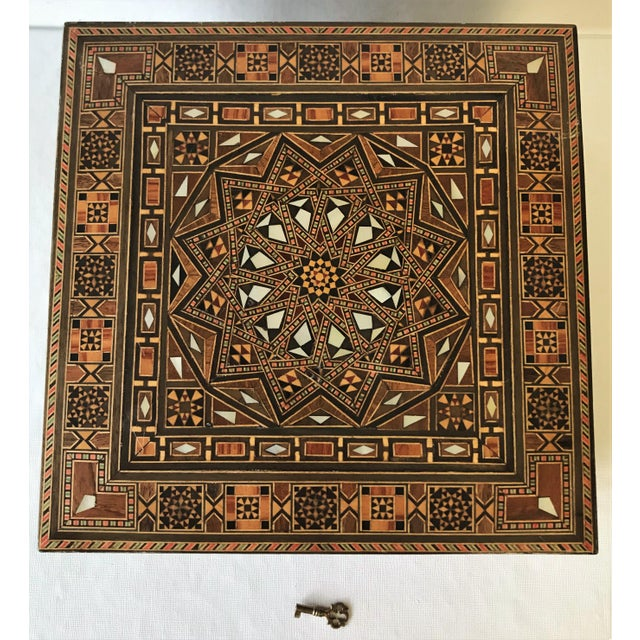 Turkish Inlaid Marquetry Mosaic Box With Key For Sale - Image 4 of 13