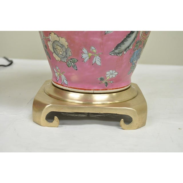 Item: Pair of Vintage Oriental / Asian Inspired Heyward House Brass and Ceramic Floral Painted Pink Table Lamps Details:...