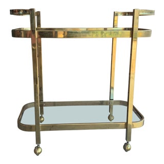 1970s Milo Baughman For DIA Rolling Brass Bar Cart For Sale