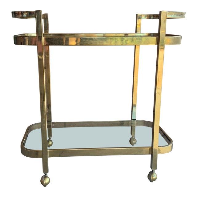 1970s Milo Baughman For DIA Rolling Brass Bar Cart For Sale