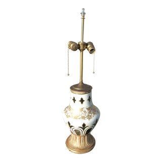 Vintage Czech Bohemian White, Gold & Emerald Glass Floral Design Table Lamp For Sale