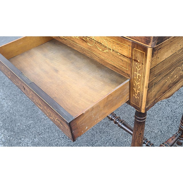 Antique English Regency Inlaid Rosewood 19th Century Sewing Work Table C1890 For Sale - Image 11 of 13