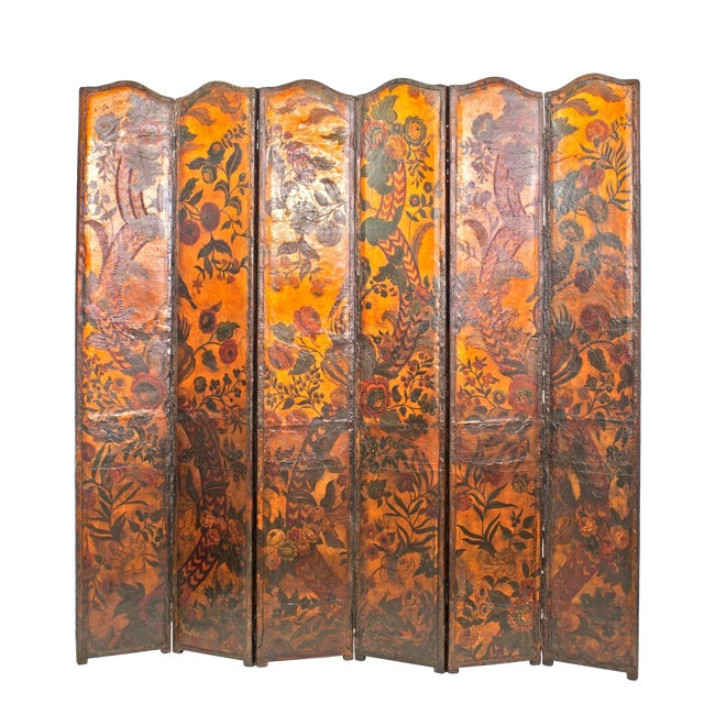 French Provincial Renaissance Style Leather Panel Screen For Sale