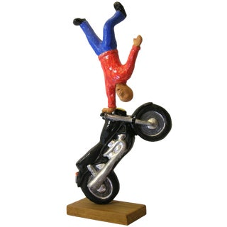 Figure on Motorcycle Terra Cotta Sculpture by Italian Artist Ginestroni For Sale