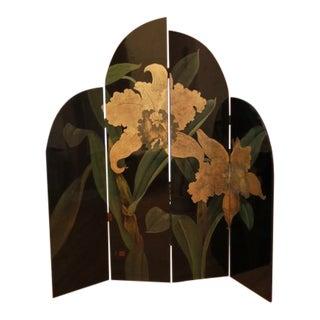Art Deco Oriental Black Lacquer Screen For Sale