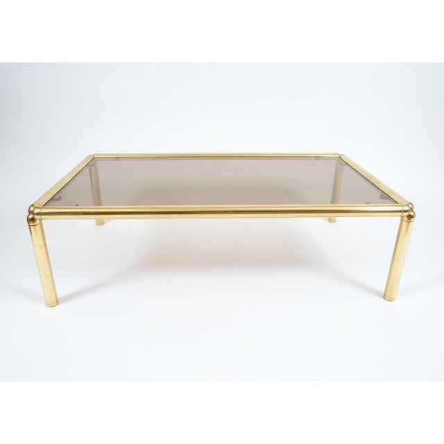 Large Italian Coffee Table in Brass and Glass For Sale - Image 4 of 6