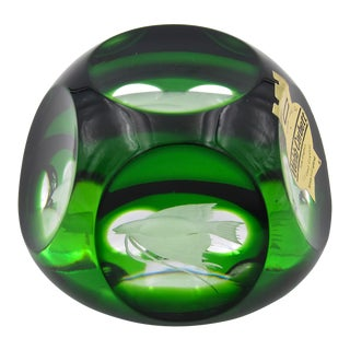 Vintage Webb Corbett Green Crystal Paperweight with an Engraved Fish For Sale