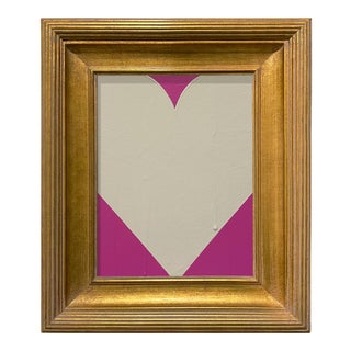Ron Giusti Mini Heart Pink and Cream Acrylic Painting, Framed For Sale