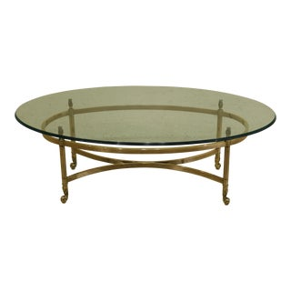 Labarge Oval French Style Brass & Glass Coffee Table For Sale