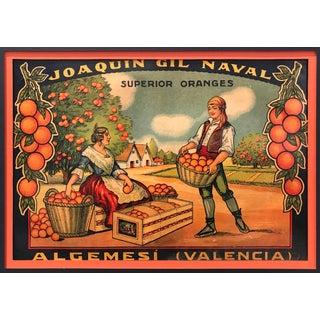 Original Matted 1920s Spanish Orange Label, Superior For Sale
