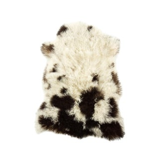 "Long Wool Sheepskin Pelt, Handmade Rug 1'10""x2'9"" For Sale"
