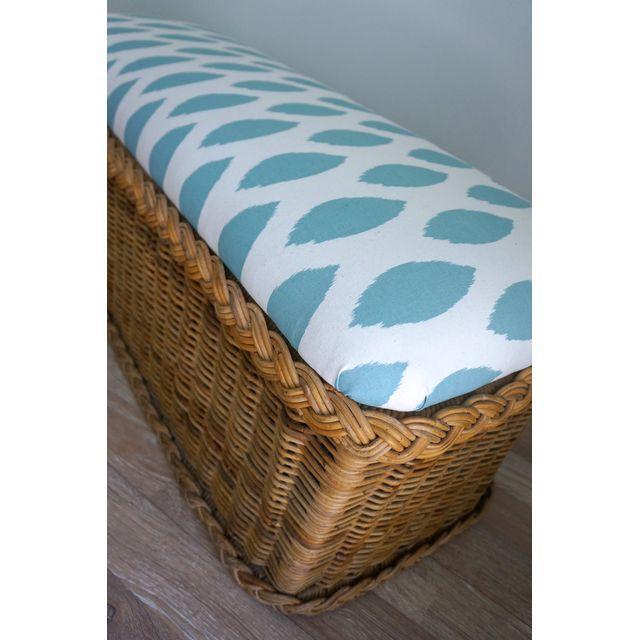 Vintage Upholstered Wicker Bench - Image 5 of 5