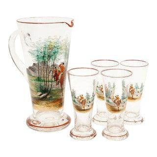 Vintage Pilsner Glasses & Pitcher - Set of 5 For Sale