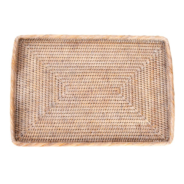 2010s Artifacts Rattan Rectangular Tray With High Handles For Sale - Image 5 of 6