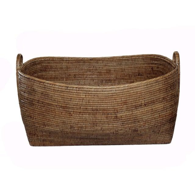 Boho Chic Artifacts Rattan Hoop Handle Basket For Sale - Image 3 of 3