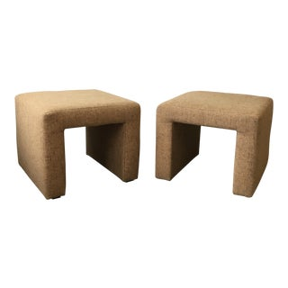 Pair Waterfall Benches in Camel Wool For Sale