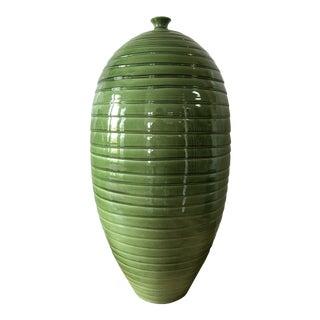 1990s Boho Chic Green Glazed Ceramic Vessel For Sale
