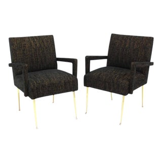 Pair of Italian Mid Century Modern Armchairs on Solid Brass Legs