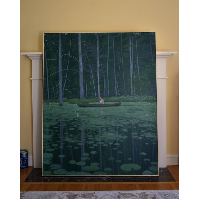 """Titled """"Awestruck"""". A woman paddles a canoe through a pond in a secluded woods; at one with Nature. Keeping the range of..."""