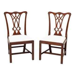 Henkel Harris 107s 29 Mahogany Chippendale Dining Side Chairs - Pair For Sale