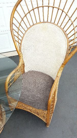 Bamboo Peacock Fan Chairs And Glass Table   Set Of 4   Image 4 Of 7